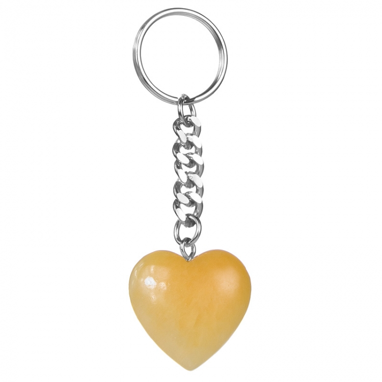 Yellow Calcite Heart Gemstone Keyring
